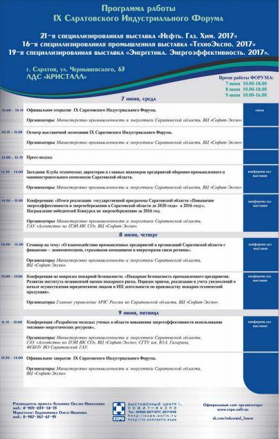 Деловая программа и расписание мероприятий IX Саратовского Индустриального Форума